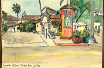 Pen and Wash Sketch of Spanish Village in Balboa Park, San Diego