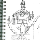 Pen Sketch of the San Diego Museum of Man in Balboa Park